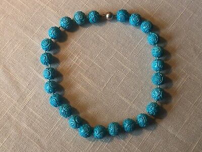 Vintage Carved Chinese Shou Bead Turquoise Choker Necklace