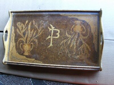 Vintage 1943 hand carved wood serving tray carved by Italian prisioner ww II