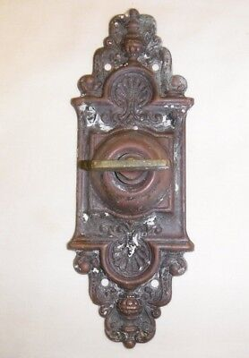 Antique Stamped Brass Door Bell Thumb Twist