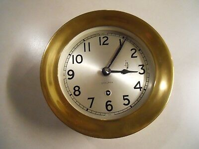 Vintage Antique CHELSEA BRASS SHIPS CLOCK Wind Up Marine Nautical Navy