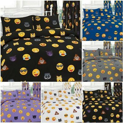 Emoji icons Luxury Duvet Cover Sets Reversible Bedding Sets / Matching Curtains