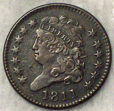 1811 HALF CENT *RARE KEY DATE* C-2 Variety R.3 XF Detailing Authentic US Coin