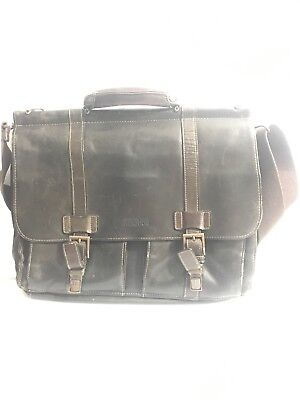 0e9544a62bce KENNETH COLE REACTION messenger bag brown leather -  55.00