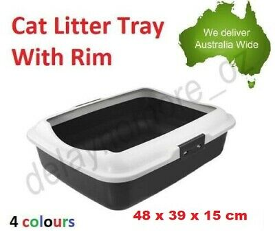 Portable Hooded Cat Kitty Toilet Litter Tray Pet Pan Box Clean New VIC w/Rim