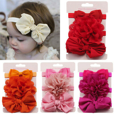 3Pcs Children Elastic Floral Headband Girl Bowknot Headwear Baby Hair Turban Set