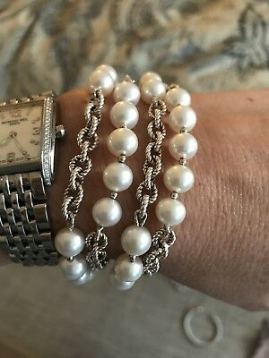 David Yurman Multi Strand Bracelet Sterling Silver And Pearls