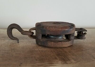 Vintage Single Block And Tackle Cast Iron Hook Barn Pulley Steampunk Antique
