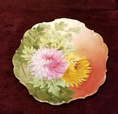 Antique Limoges France LDBC Flambeau Hand Painted Cabinet Charger Plate Signed