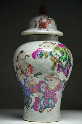 Exquisite Chinese Porcelain Handmade Painting Children Storage Tank