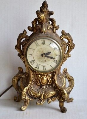Vintage LANSHIRE MANTLE CLOCK Ornate Metal Electric Rococo Gold Gilt 10.5""