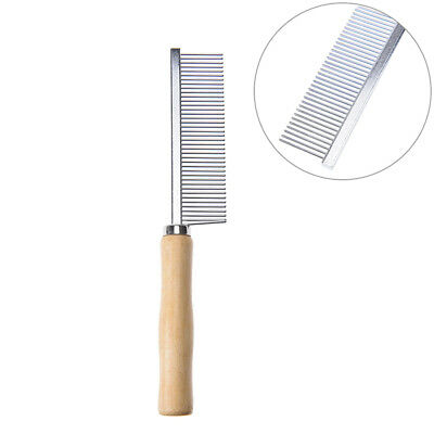 stainless steel needle+wood hand comb hair brush shedding flea for cat dog pet X
