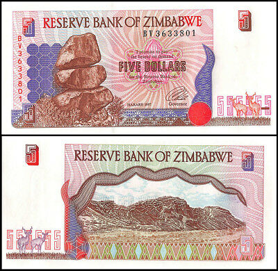 Zimbabwe 5 Dollars Banknote, 1997, P-5b, UNC, Terraced Hills, Rock, Flower