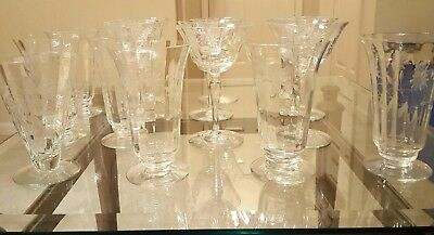 Antique Set Of 15 Etched Crystal Wine Glasses and Decanter