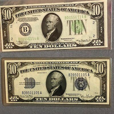 Two $10 Bills From 1934, Varying Stamps/ Seals And Off Centered
