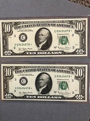 Two $10 Bills, Both 1977 NEAR MINT  Consecutive Serials With Stars!