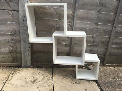 3 Boxed Wall Mounted Shelf Display Unit, Wooden, Floating Cube Box Square