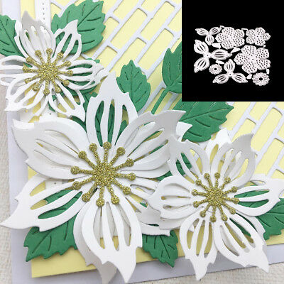 8Pcs Flower Leaves Cutting Dies Stencil Scrapbook Paper Cards Embossing Fashion