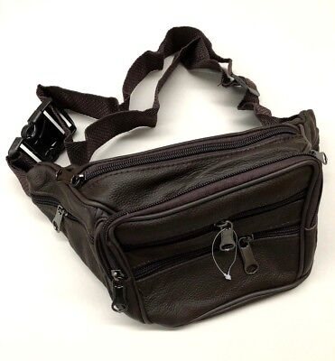 Leather Waist Pouch Bum Bag Travel Sport Bag With 7 Pockets DARK Brown new
