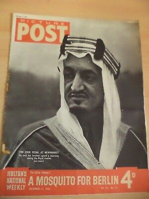 PICTURE POST OLD VINTAGE MAGAZINE 11 dec 1943 ww2 oswald mosley emir feisal