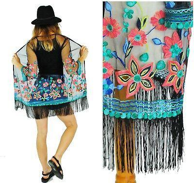 4a45e39ee1f32 BOHO Kimono Cardigan Jacket Top Beach Evening Summer Festival Embroidered  -Black