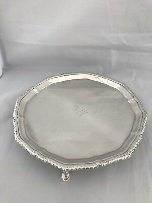 Antique Silver Crested Salver Or Tray 1919 London 4 FEET