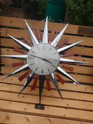 VINTAGE 1970s METAMEC SUNBURST / STARBURST WALL CLOCK NOT WORKING. SPARES/REPAIR