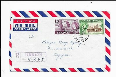 SARAWAK QEII 1962 37c RATE COVER REGd TO SINGAPORE.