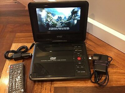 7 inch Vivid Portable DVD Player with adaptor/charger, Remote & Car Charger