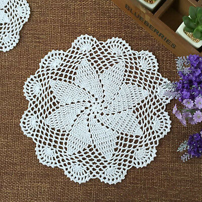 4Pcs/Lot White Vintage Hand Crochet Cotton Lace Doilies Round Table Mats 26-28cm