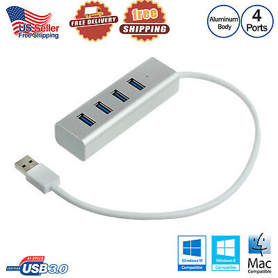 USB3.0 Aluminum Hub 5Gbps 4Ports High Super Speed Adapter Charging For PC Laptop