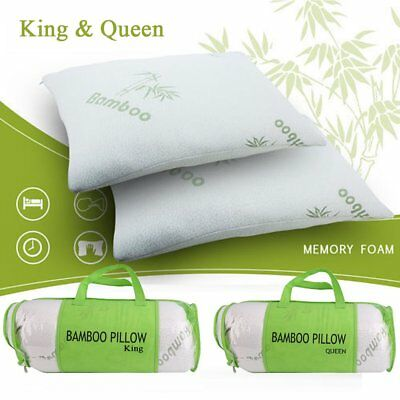 Hot Comfort Bamboo Memory Foam Pillow&Removable Case King~Queen 1 or 2 pack OY