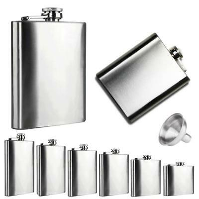 1/4/5/6/7/8/10 oz Stainless Steel Hip Liquor Whiskey Alcohol Flask Cap Funnel CA