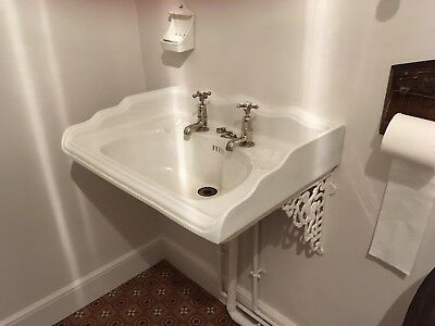 Victorian Edwardian Antique Sink Basin with nickel plated plug VGC