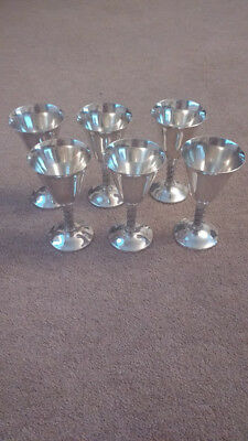 Six Rare Vintage Spanish Silver Plated  Goblets - Visiuc - 1940's