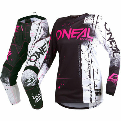 NEW Oneal 2019 MX Element Shred Pink Black Jersey Pant Womens Motocross Gear Set