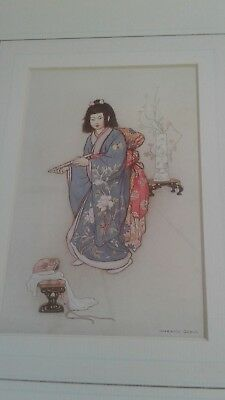 vintage Japanese fairy tale print The Flute Warwick Goble with cert'