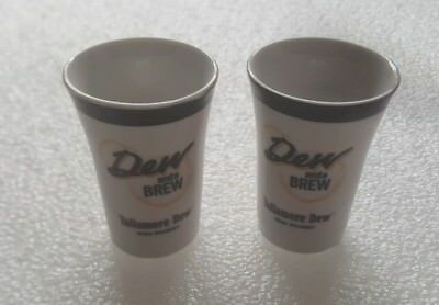 Lot 2 Tullamore Dew Irish Whiskey Dew And A Brew Porcelain Bar Shot Drink Glass