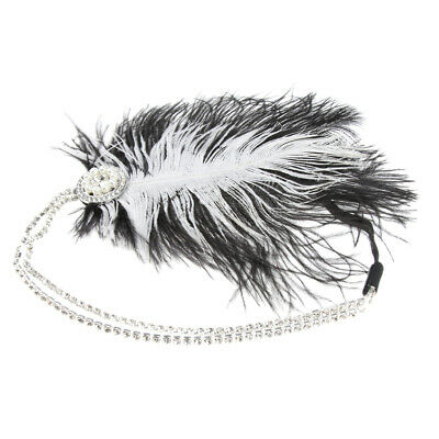 1920s Feather Fascinator Rhinestone Bead Headband Head Dress Bridal Hair Wedding