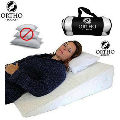Orthologics Bed Wedge Raised Pillow XLARGE Acid Reflux GERD Memory Foam Back OL9