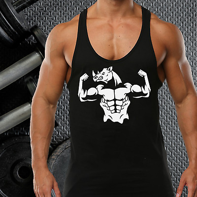 Rhino Lifting Gym Vest Stringer Bodybuilding Muscle Training Top Fitness Singlet