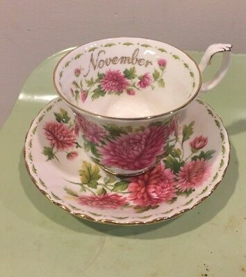 Royal Albert Tea cup saucer fine bone china Chrysanthmum Flowers Of Month
