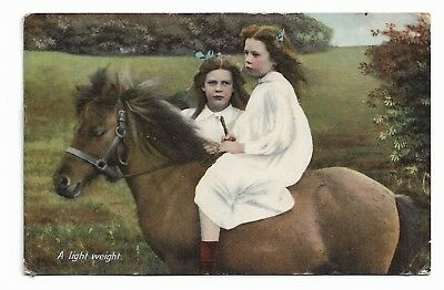 A LIGHT WEIGHT Posted 1908 Postcard Little Girls with Pony Raphael Tuck 727G
