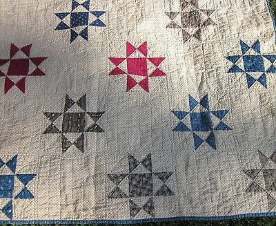 "Antique Crystal Star Patchwork Quilt Large 84"" X 82"" Hand Stitched Quilted 1920?"