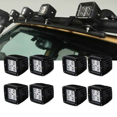 8pcs 4Inch 18W LED Work Light Pod Roof Spot Driving Lamps JEEP Ford polaris