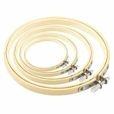 4 Pieces Embroidery Hoops Set Bamboo Circle Cross Stitch Hoop Ring for DIY P8L2