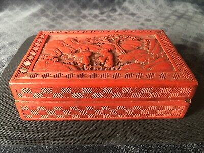 Antique Chinese Export Carved Cinnabar Lacquer Box