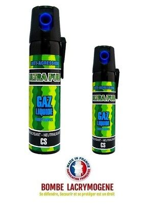 Bombe lacrymogène gaz CS paralysant anti agression 25+75 ml  REF 113