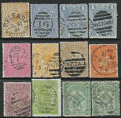 VICTORIA: EARLY GROUP STAMP DUTY issues Range 1d to 10/-(12) POSTALLY USED