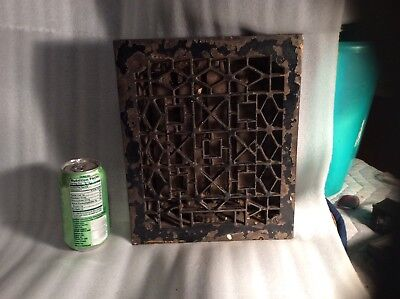 Antique vintage iron heat register grate, louver vent, working