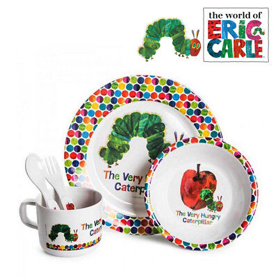 The Very Hungry Caterpillar Dinner Set  5pc Spoon Fork Plate Bowl Cup Eric Carle